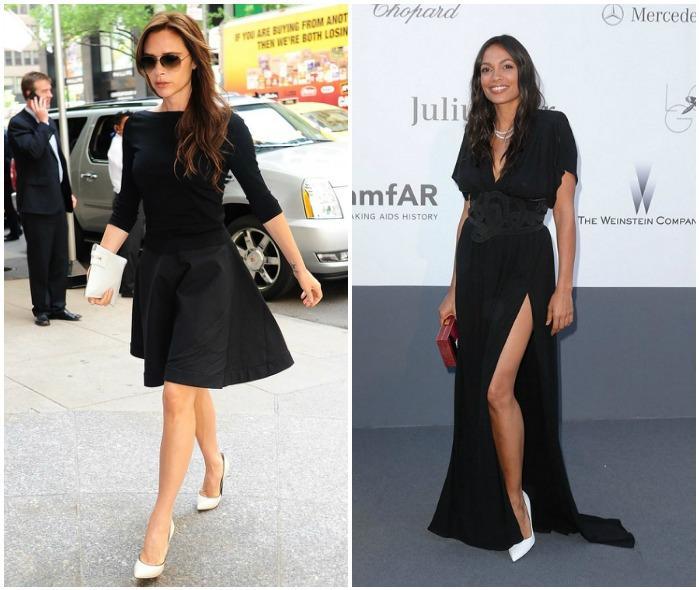 Черное платье с белыми туфлями
