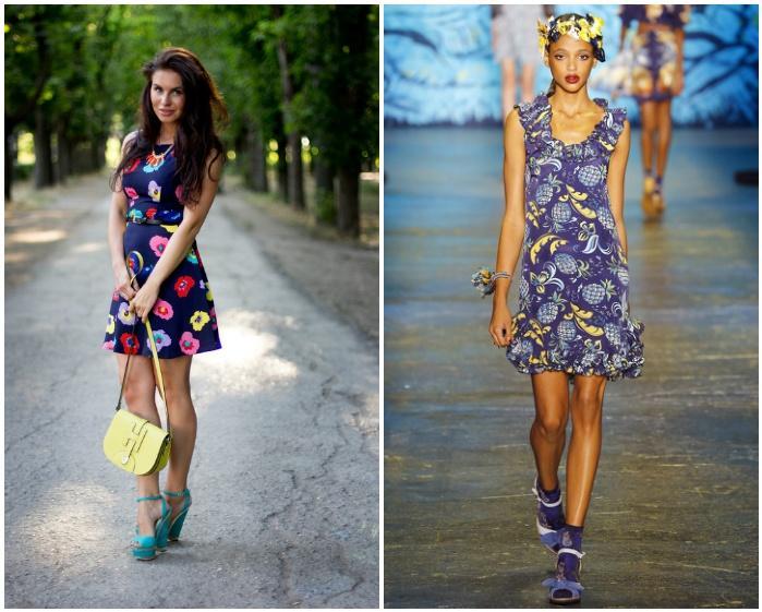 Босоножки с ярким платьем