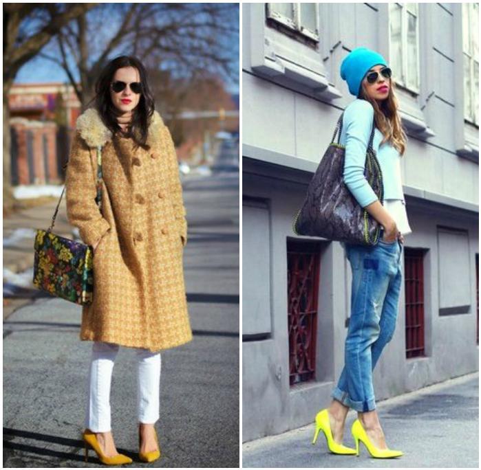 Теплый образ с желтыми туфлями