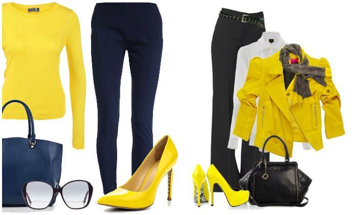 Образы с желтыми туфлями и брюками