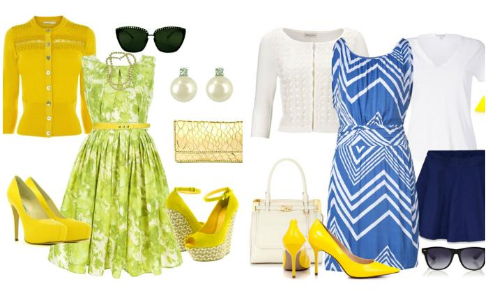 Образы с желтыми туфлями и платьями
