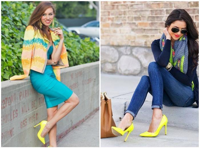 Уличный образ с желтыми туфлями