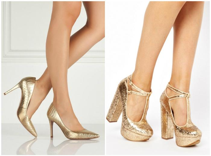 Золотисто-желтые туфли на ноге