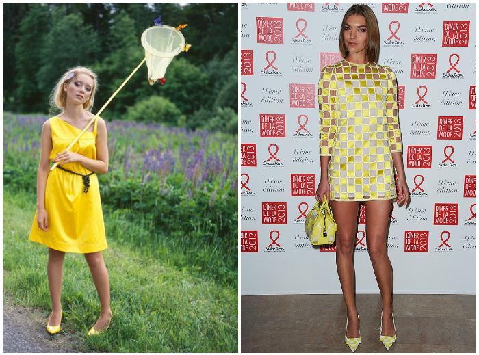 Сочетание желтого платья и желтых туфель