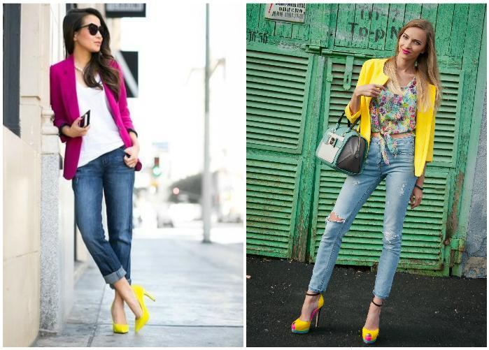Желтые туфли с ярким блейзером