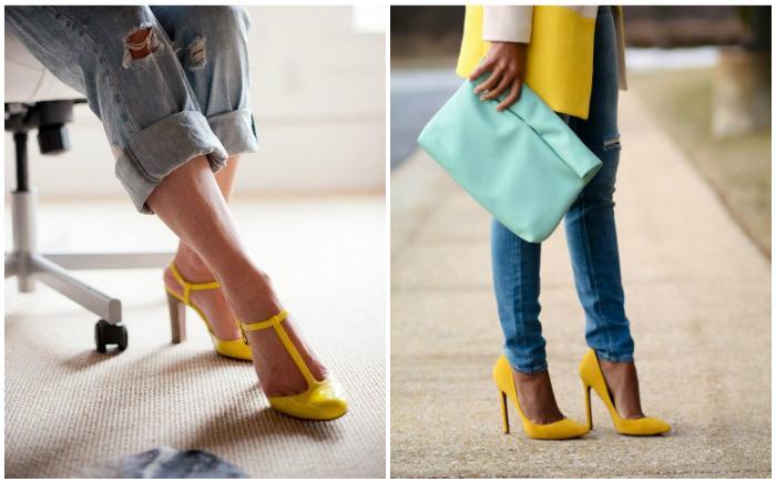 Желтые туфли на ногах