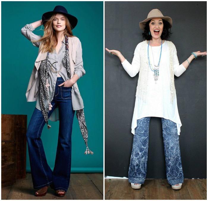 Вариант образа в стиле бохо с джинсами клёш