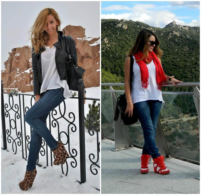 Сочетание джинс с обувью на танкетке