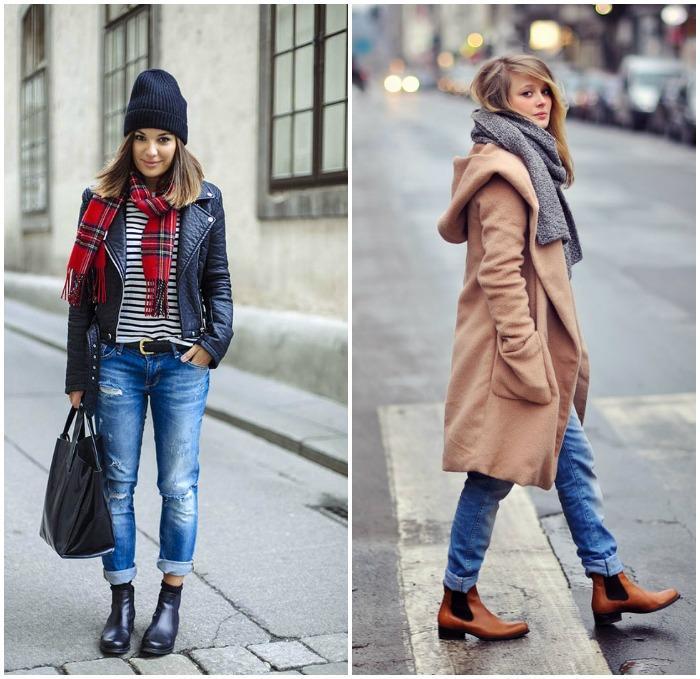 Сочетание коротких джинс с ботинками