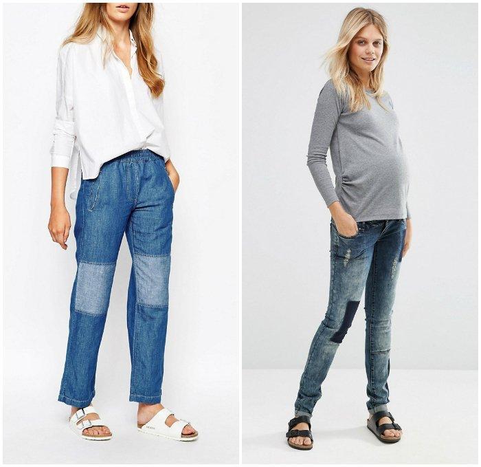 Сочетание джинс с заплатками и массивных сандалий