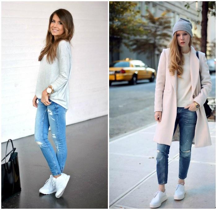 Образ с рваными джинсами и кроссовками
