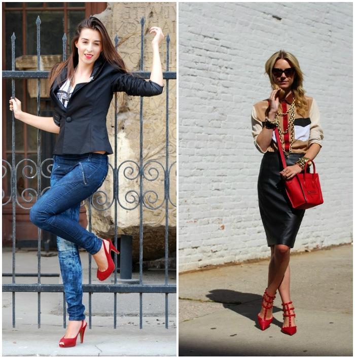 Городской стиль с красными босоножками
