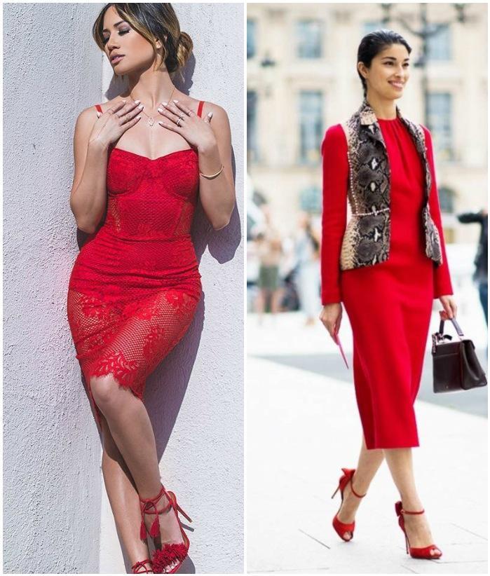 Красное платье с красными босоножками на моделях