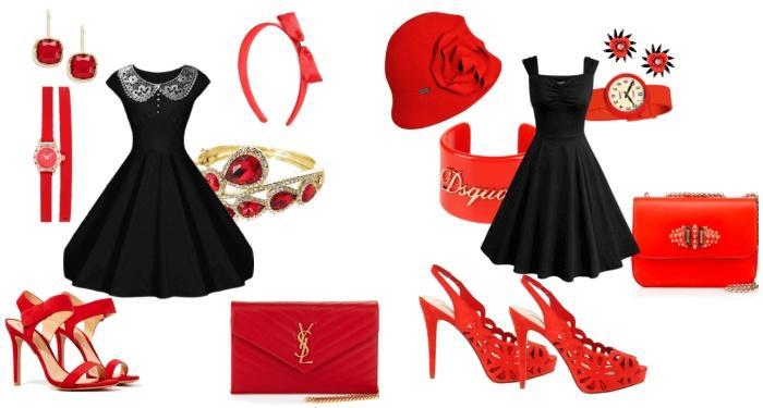 Образ с красными босоножками и коротким черным платьем