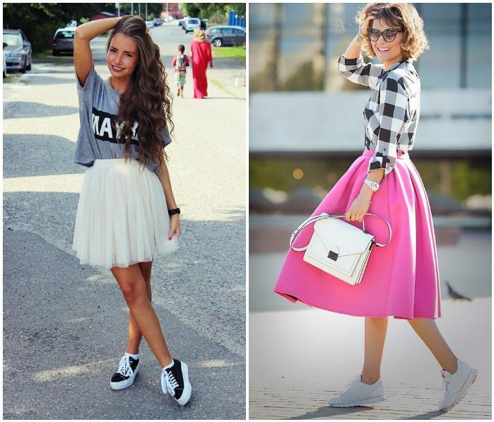 Сочетание пышной юбки с кроссовками