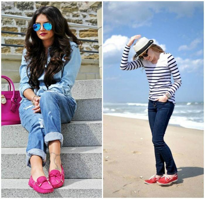 Сочетание мокасин с джинсами