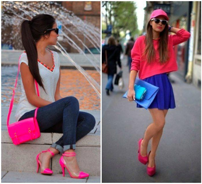Яркие образы с розовыми туфлями