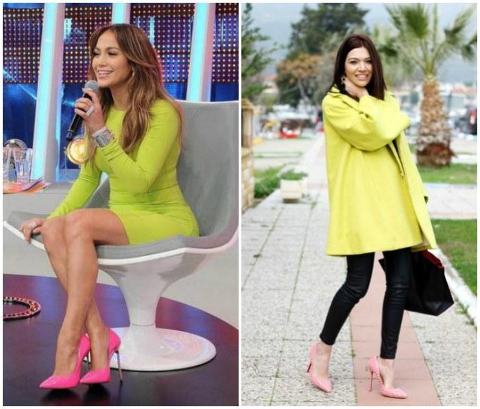 Сочетание одежды желтого цвета с розовыми туфлями