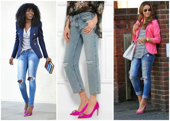 Образы джинс с розовыми туфлями