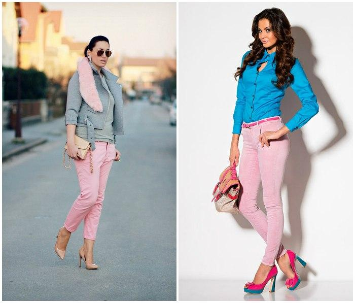 Розовые туфли с брюками нежного розового оттенка на моделях