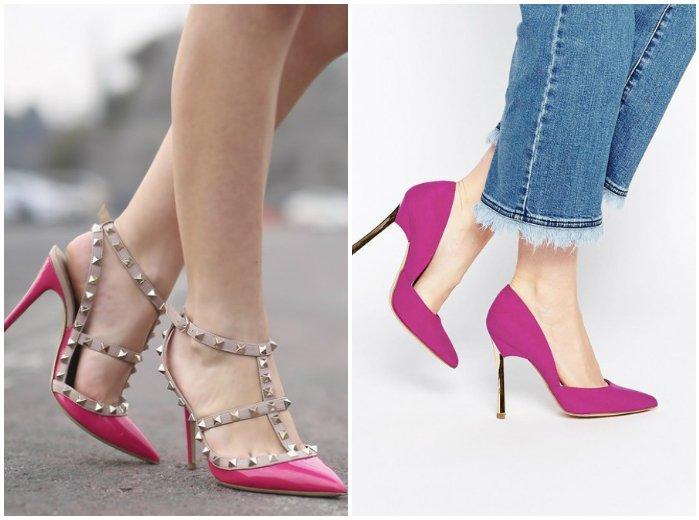 Розовые туфли на ноге модели