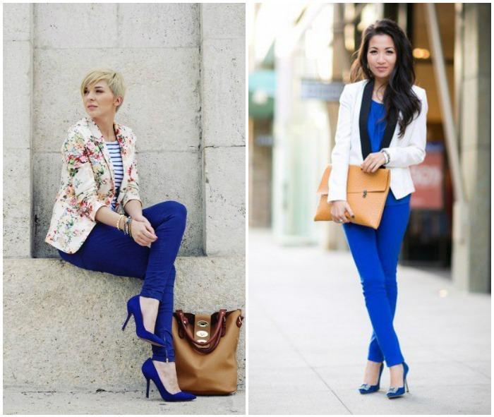 Образ с синими туфлями и синими брюками