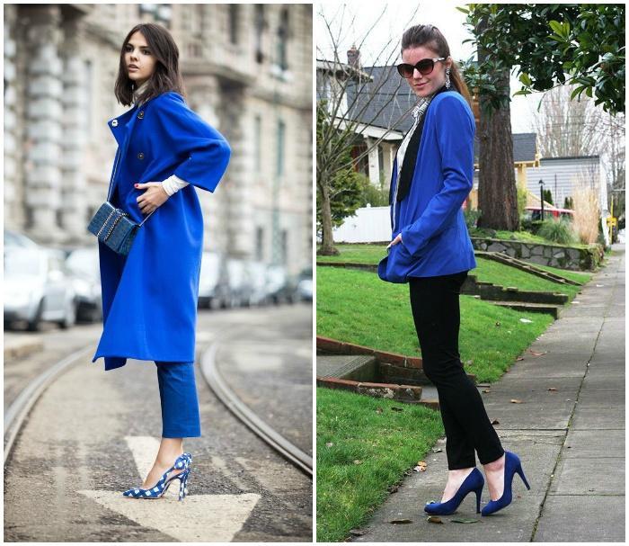 Образ с синими туфлями и синим пальто