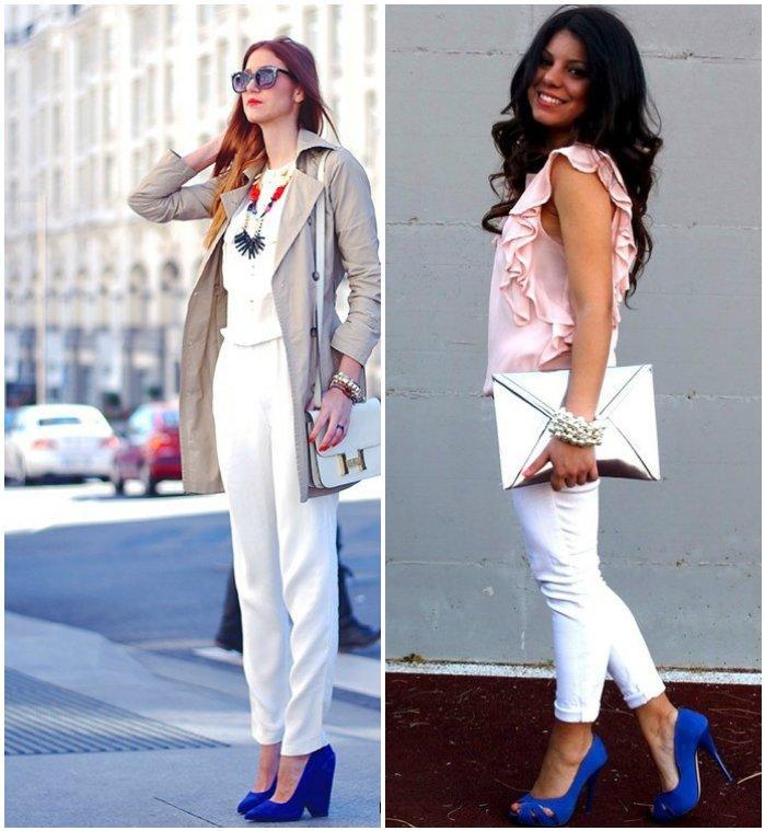 Классический образ в белом цвете с синими туфлями