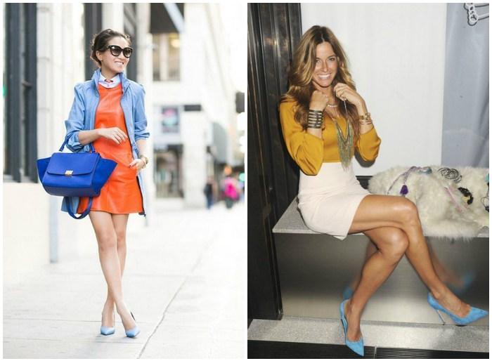 Голубые туфли с яркой одеждой