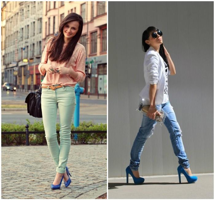 Образ с синими туфлями и джинсами
