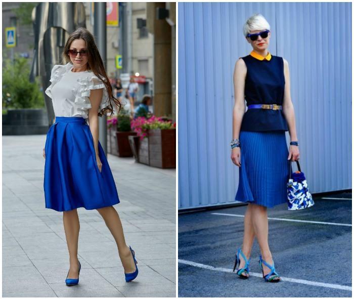 Образ с синими туфлями и синей юбкой