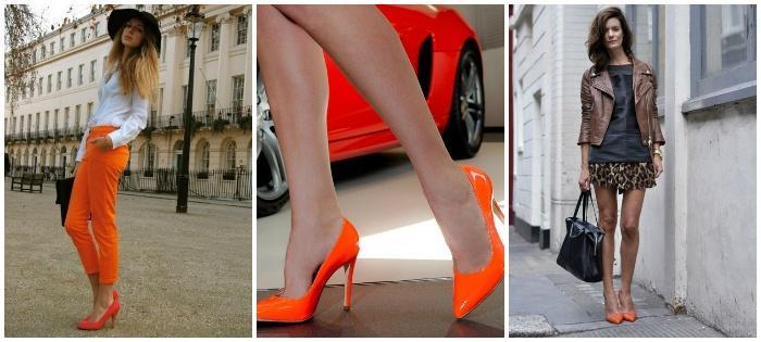 Образ с оранжевыми туфлями