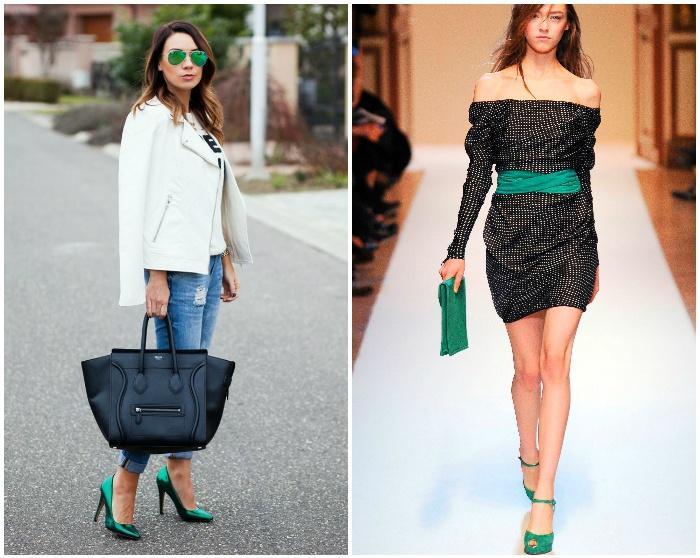 Насыщенные зеленые туфли для создания модного образа