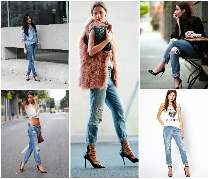 Рваные джинсы с туфлями на моделях