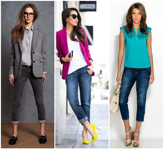 Деловой образ с джинсами