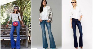 Сочетание джинс-клеш с каблуками