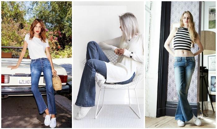Сочетание джинс-клеш с кроссовками