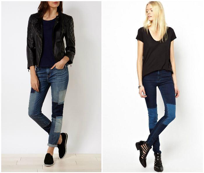 Прямые джинсы с заплатками на моделях