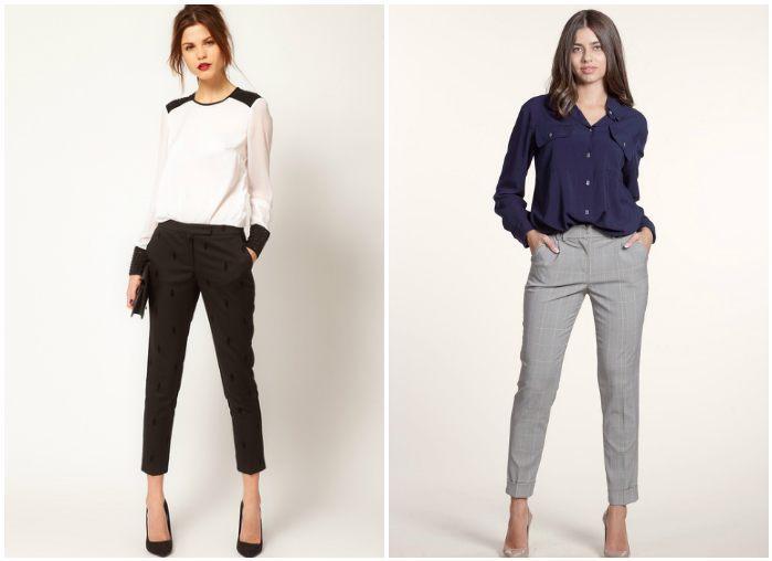 Укороченные брюки на моделях