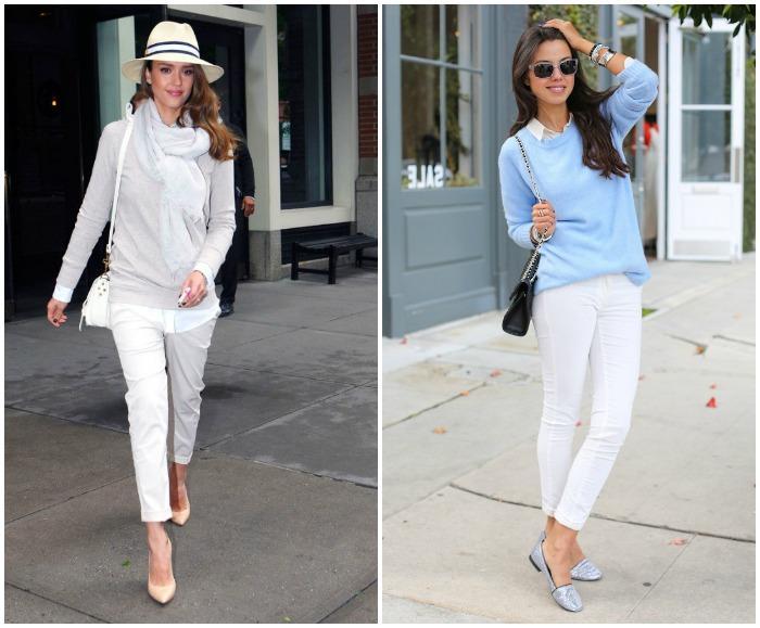 Образ с белыми укороченными штанами