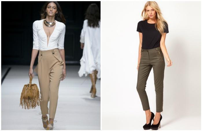 Бежевые укороченные брюки на моделях