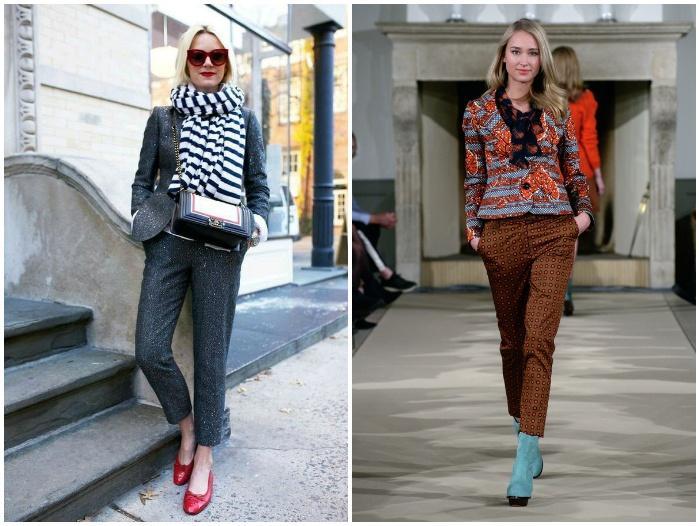 Укороченные брюки с яркой обувью для улицы