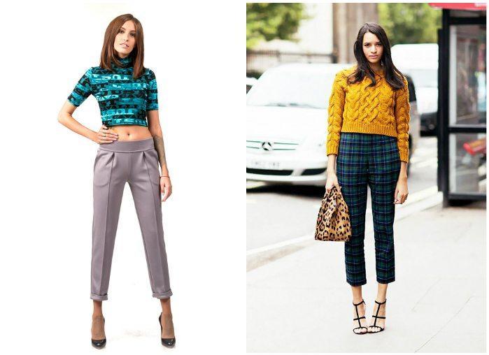 Укороченный брюки с ярким верхом на моделях
