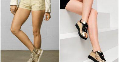 Золотые кеды на ноге