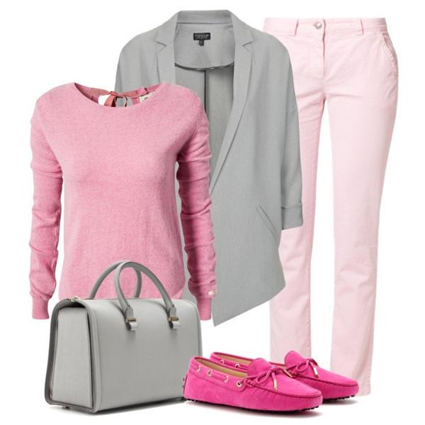 Что носить с розовыми брюками?