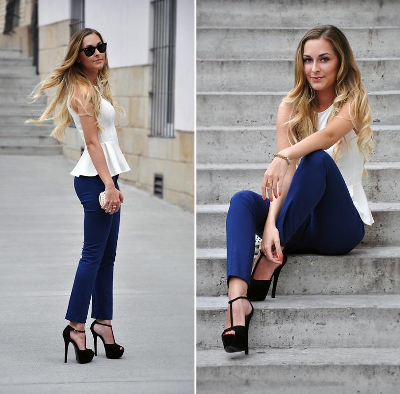 Синие брюки в сочетании с белой блузой без рукавов