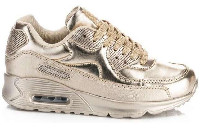 Золотистые кроссовки на толстой подошве