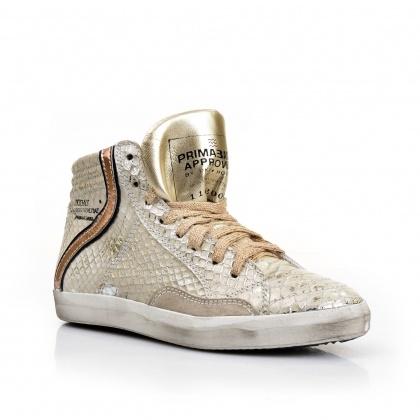 Золотистые кроссовки из кожи