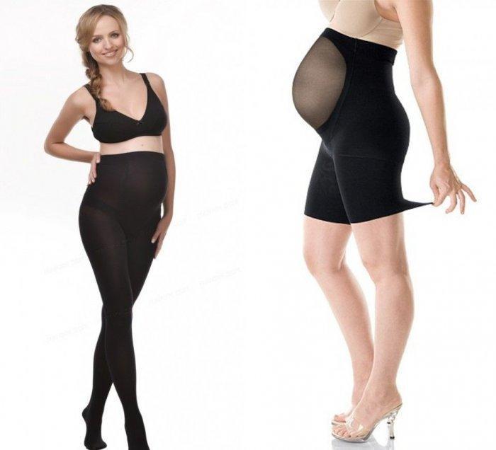 Корректирующие черные колготки для беременных
