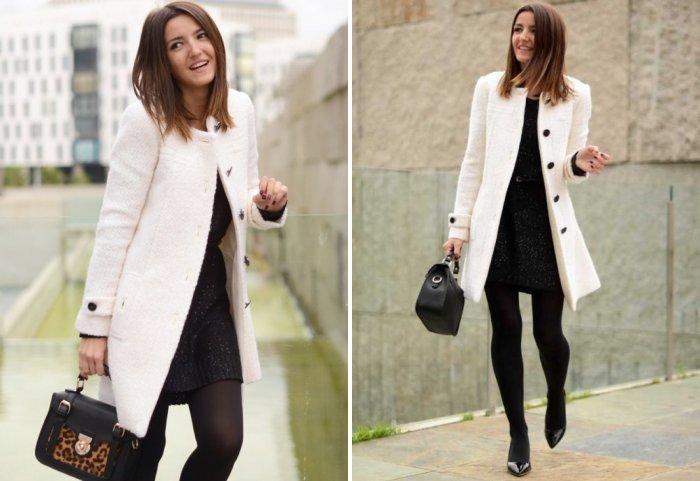 Белое пальто с платьем